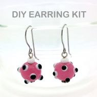 Pink Lampworked Glass Earring Kit