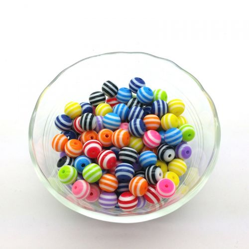 Bead, Resin, Lined, Mixed Color, 10mm