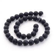 Black Agate,frosted, Grade A, 10mm (12 pcs)