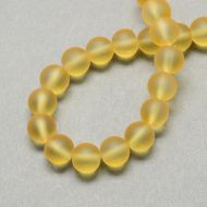 Glass Bead, Frosted, Round, Golden, 6mm
