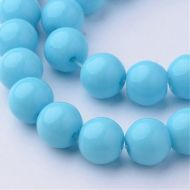 Glass Beads, Round, Dyed, Light Sky Blue, 8mm