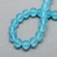 Glass Bead, Frosted, Round, Light Sky Blue, 6mm